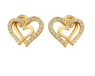 18K Plated Shinning Crystal Heart Shape Earrings