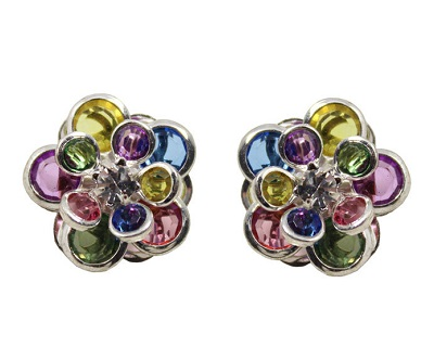 Stereo Color Flower Earrings