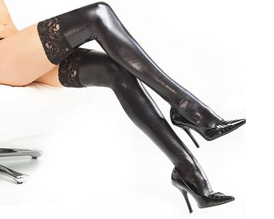 Leather and Lace Thigh Stockings(1 Pair)