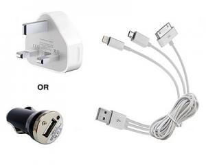 Multifunctional USB Cable + Car Charger + Wall Plug