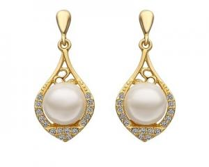 18K Plated Elegant White Pearl Earrings