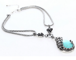 Peacock Carved Turquoise Necklace