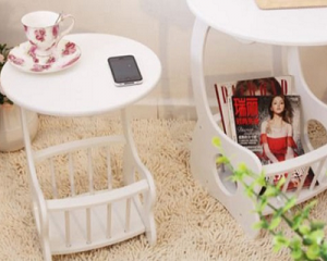 Wooden Coffee Table with Magazine Rack