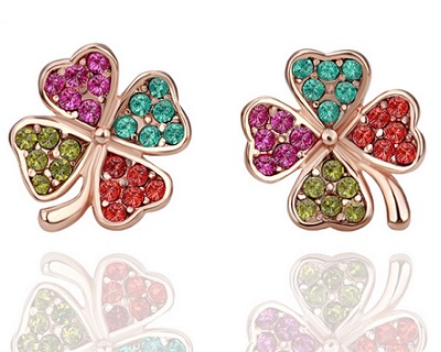 18K Gold Plated Colorful Lucky Leaf Earrings