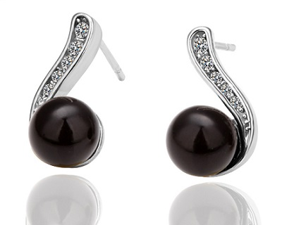 White Gold Plated Black Pearl Earrings