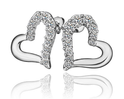 18K Plated Shinning Heart Shape Earrings