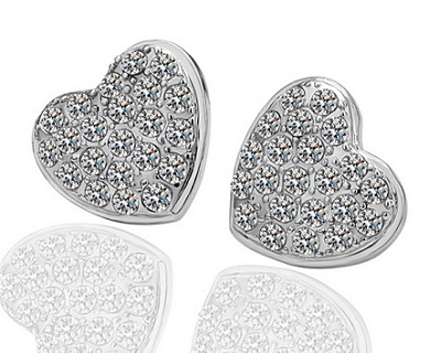 18K White Gold Plated Heart Earrings