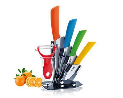 Set of 5 Ceramic Knives & Peeler with Stand