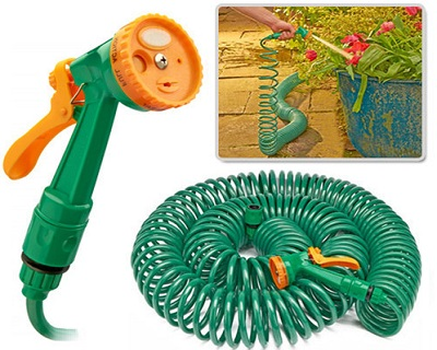 Coil Garden Hose with Sprayer Nozzle
