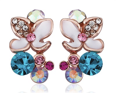 18K Gold Plated Colorful Flower Crystal Earrings