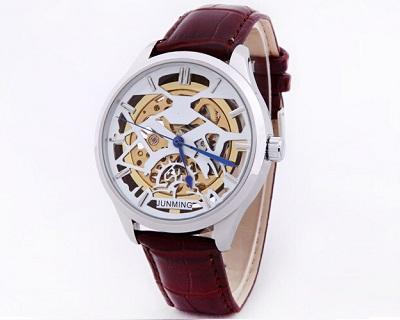 Leather Automatic Skeleton Watch