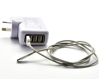 Four-Port USB Travel Charger with International Adaptors